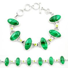 Natural green malachite (pilot's stone) 925 silver tennis bracelet m32249