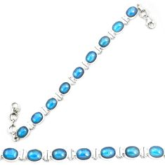 Natural blue apatite (madagascar) 925 sterling silver tennis bracelet m32437