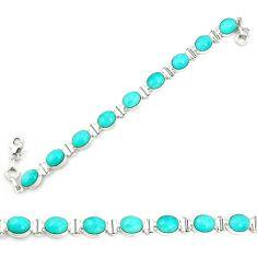 Natural blue apatite (madagascar) 925 sterling silver tennis bracelet m35423