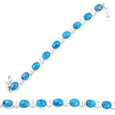 Natural blue apatite (madagascar) 925 sterling silver tennis bracelet m35425