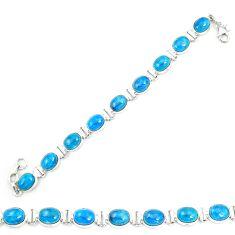 Natural blue apatite (madagascar) 925 sterling silver tennis bracelet m35427