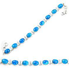 925 sterling silver natural blue apatite (madagascar) tennis bracelet m35429