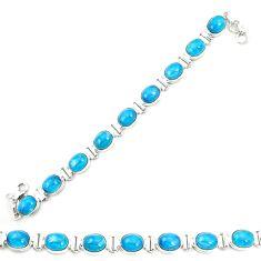 Natural blue apatite (madagascar) 925 sterling silver tennis bracelet m35430