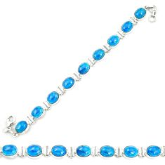 Natural blue apatite (madagascar) 925 sterling silver tennis bracelet m35431