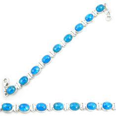 Natural blue apatite (madagascar) 925 sterling silver tennis bracelet m35432