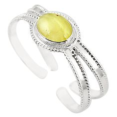 Natural libyan desert glass (gold tektite) 925 silver adjustable bangle m37821