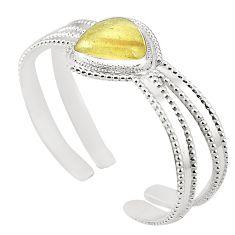 Natural libyan desert glass (gold tektite) 925 silver adjustable bangle m37823
