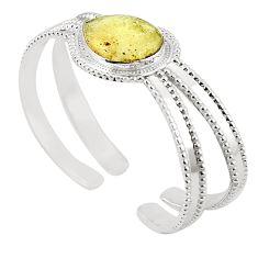 Natural libyan desert glass (gold tektite) 925 silver adjustable bangle m37829