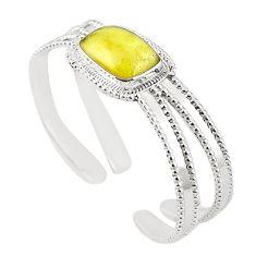 Natural libyan desert glass (gold tektite) 925 silver adjustable bangle m37830