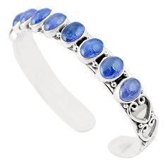Natural blue tanzanite 925 sterling silver adjustable bangle jewelry m37986