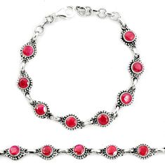 Natural red ruby 925 sterling silver tennis bracelet jewelry m40922