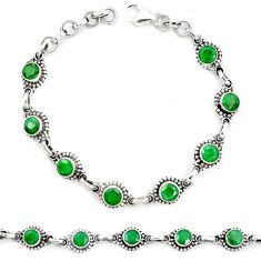 Natural green emerald 925 sterling silver tennis bracelet jewelry m40929