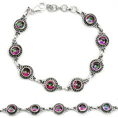 Multi color rainbow topaz 925 sterling silver tennis bracelet jewelry m40947