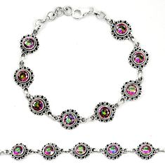 Multi color rainbow topaz 925 sterling silver tennis bracelet jewelry m40952