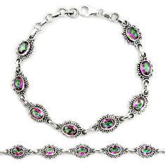 Multi color rainbow topaz 925 sterling silver tennis bracelet jewelry m40968