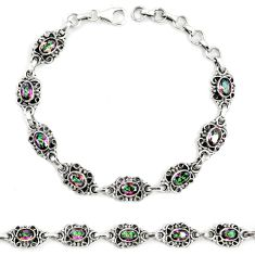 Multi color rainbow topaz 925 sterling silver tennis bracelet jewelry m40985