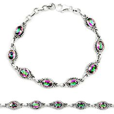 Multi color rainbow topaz 925 sterling silver tennis bracelet jewelry m41361