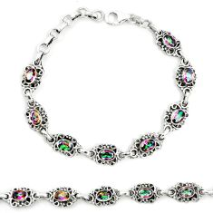 925 sterling silver multi color rainbow topaz tennis bracelet jewelry m41377