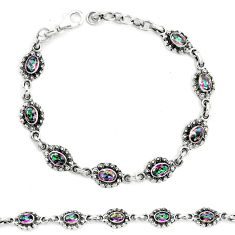 Multi color rainbow topaz 925 sterling silver tennis bracelet jewelry m41378