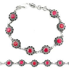 Natural red ruby 925 sterling silver tennis bracelet jewelry m41383