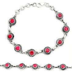 Natural red ruby 925 sterling silver tennis bracelet jewelry m41387