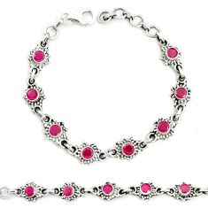 Natural red ruby 925 sterling silver tennis bracelet jewelry m41388