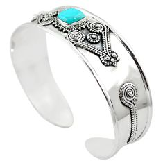Blue arizona mohave turquoise 925 silver adjustable bangle jewelry m44371