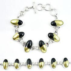 Natural golden pyrite in magnetite (healer's gold) 925 silver bracelet m4450