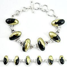 Natural golden pyrite in magnetite (healer's gold) 925 silver bracelet m4453