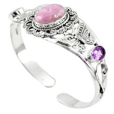Natural pink kunzite amethyst 925 silver adjustable bangle jewelry m44701