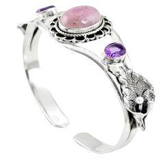 Natural pink kunzite amethyst 925 silver adjustable bangle jewelry m44703