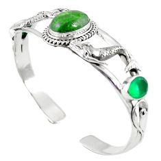 925 sterling silver natural green chrome diopside adjustable bangle m44704