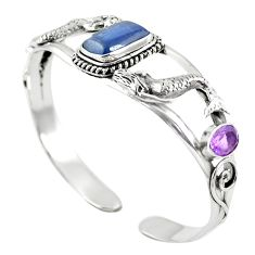 Natural blue kyanite amethyst 925 silver adjustable bangle jewelry m44706