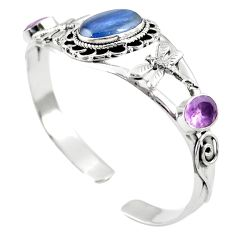 Natural blue kyanite amethyst 925 silver adjustable bangle jewelry m44709
