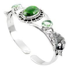 Natural green chrome diopside 925 silver adjustable bangle jewelry m44710