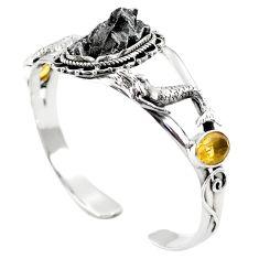 925 silver natural campo del cielo (meteorite) adjustable bangle jewelry m44711