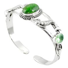 Natural green chrome diopside 925 silver adjustable bangle jewelry m44713