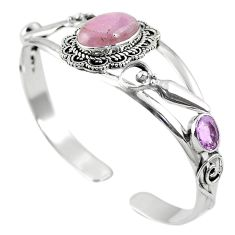 Natural pink kunzite amethyst 925 silver adjustable bangle jewelry m44714