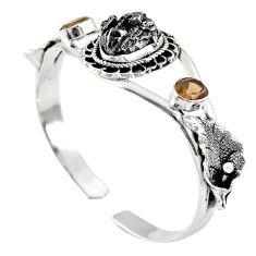 Natural campo del cielo (meteorite) 925 silver adjustable bangle m44715