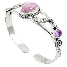 925 silver natural pink kunzite amethyst adjustable bangle jewelry m44716