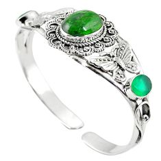 Natural green chrome diopside 925 sterling silver adjustable bangle m44718