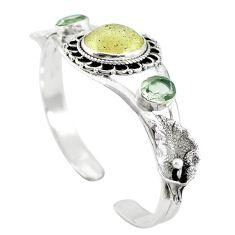 Natural libyan desert glass (gold tektite) 925 silver adjustable bangle m44729
