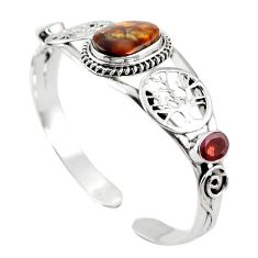 Natural multi color mexican fire agate 925 silver adjustable bangle m44736
