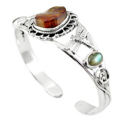 Natural multi color mexican fire agate 925 silver adjustable bangle m44737