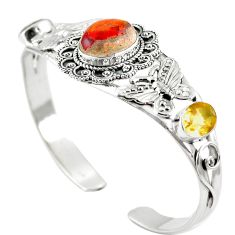 Natural multi color mexican fire opal 925 silver adjustable bangle m44740