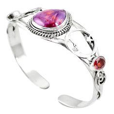 Natural purple cacoxenite super seven 925 silver adjustable bangle m44751