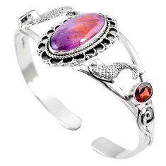 Natural purple cacoxenite super seven 925 silver adjustable bangle m44753