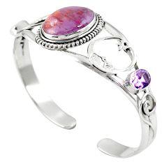 Natural purple cacoxenite super seven 925 silver adjustable bangle m44754