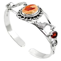 Natural multi color mexican fire opal 925 silver adjustable bangle m44758