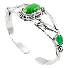 Natural green chrome diopside 925 silver adjustable bangle jewelry m44760